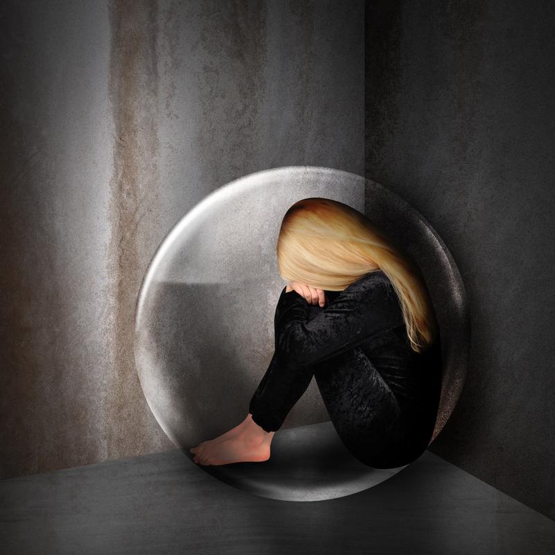 Woman stuck inside a bubble